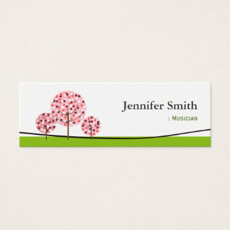 Musician - Cute Pink Tree Symbol Mini Business Card