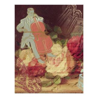 Musician Elegant classic floral vintage design Letterhead