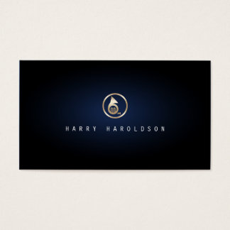 Musician Elegant Gold French Horn Icon Blue Glow Business Card