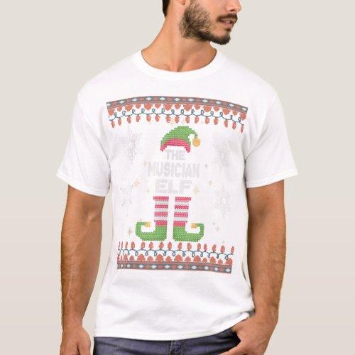 Musician Elf Ugly Christmas T_Shirt