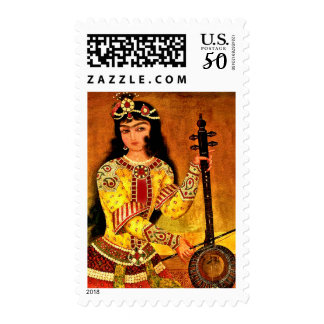 Musician Girl Persian Miniature Postage stamps