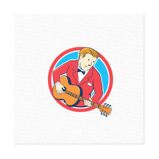 Musician Guitarist Playing Guitar Circle Cartoon Gallery Wrapped Canvas
