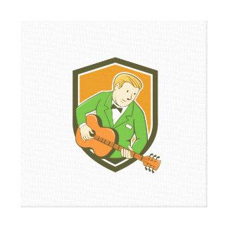 Musician Guitarist Playing Guitar Shield Cartoon Gallery Wrap Canvas