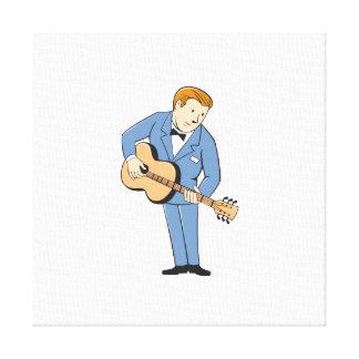 Musician Guitarist Standing Guitar Cartoon Gallery Wrap Canvas