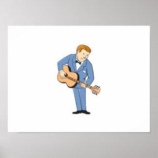 Musician Guitarist Standing Guitar Cartoon Poster