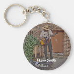 Musician in Alley Key Chains
