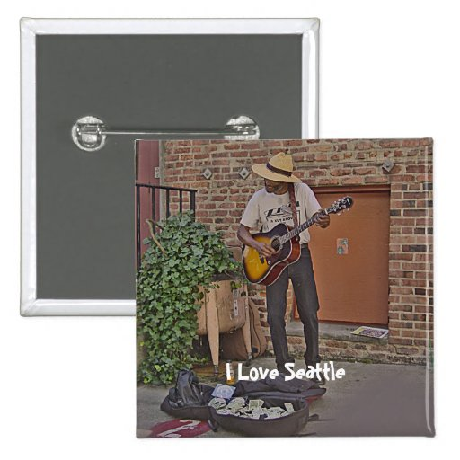 Musician in Alley Pinback Button
