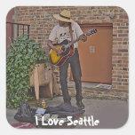 Musician in Alley Square Sticker