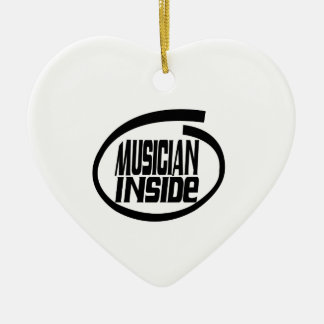 Musician Inside Double-Sided Heart Ceramic Christmas Ornament