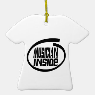 Musician Inside Double-Sided T-Shirt Ceramic Christmas Ornament