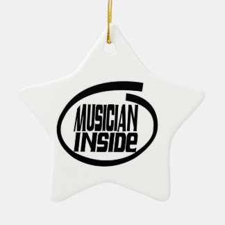 Musician Inside Double-Sided Star Ceramic Christmas Ornament