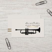 Musician Music Teacher Trumpet instrument Gold Business Card