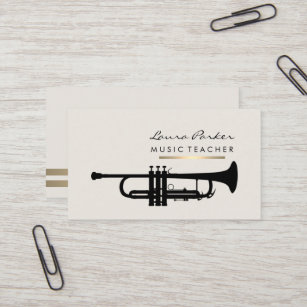 Musician business cards templates zazzle musician music teacher trumpet instrument gold business card colourmoves