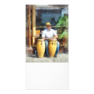 Musician - Playing Bongo Drums Custom Photo Card