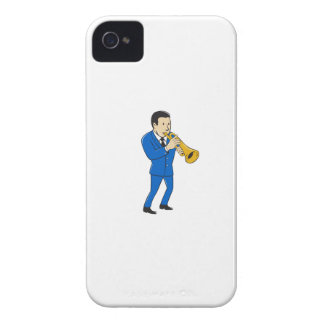 Musician Playing Trumpet Cartoon iPhone 4 Cases