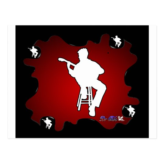 MUSICIAN RED BACKGROUND PRODUCTS POSTCARD