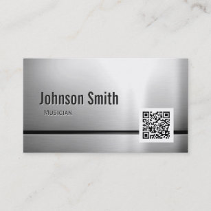 Qr code business cards templates zazzle musician stainless steel qr code business card colourmoves
