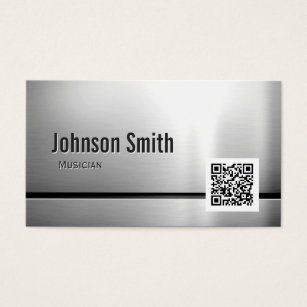 Qr code business cards templates zazzle musician stainless steel qr code business card colourmoves Images