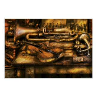 Musician - Two horns and a Violin Poster