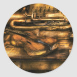 Musician - Two horns and a Violin Classic Round Sticker