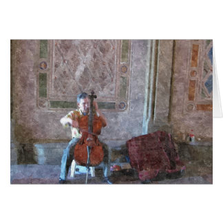 MUSICIAN UNDER THE ARCHWAY NOTE CARD