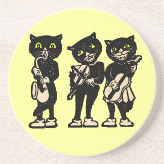 Musician Vintage Black Cats Drink Coaster