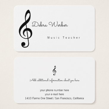 Professional Business musician white business card & treble music note