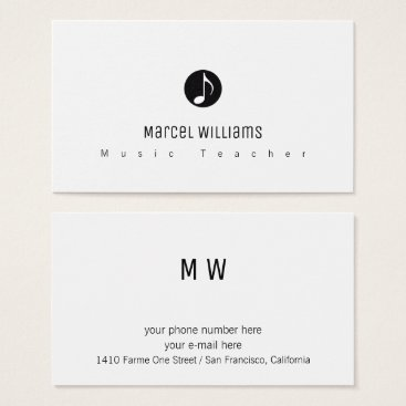 Professional Business musician white business card with music note