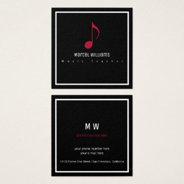 Professional Business musician's black business card with musical note