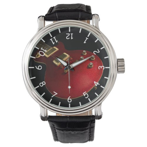 Musician's Cool Red Sparkle Electric Rock Guitar Watch