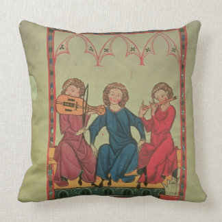 Musicians, from the Manasse Codex, a collection of Throw Pillows