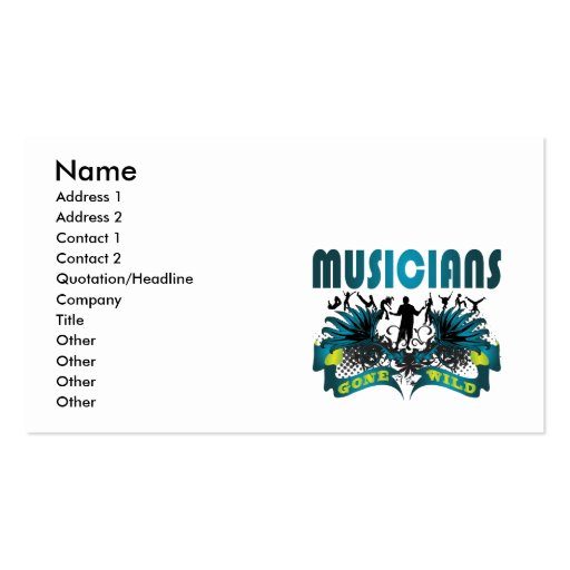 Musicians Gone Wild Business Card Template