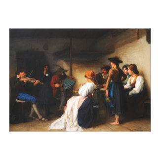Musicians in a Gardena parlor by Moroder-Lusenberg Canvas Print