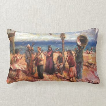 Beach Themed Musicians in Barcelona's beach Lumbar Pillow