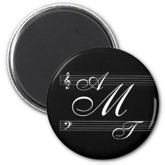 Musicians in love monogram logo 2 inch round magnet