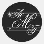 Musicians in love monogram logo classic round sticker