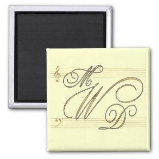 Musicians in love wedding monogram logo 2 inch square magnet