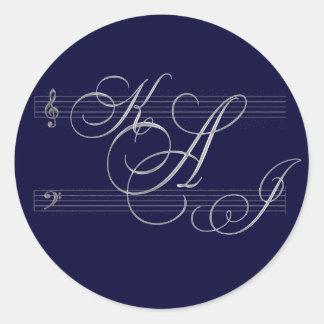Musicians in love wedding monogram logo classic round sticker