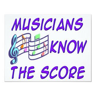 """Musicians Know the Score 4.25"""" X 5.5"""" Invitation Card"""