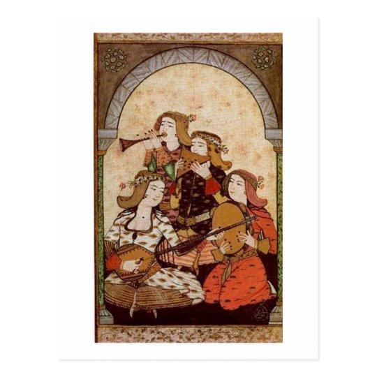 Musicians, medieval music postcard