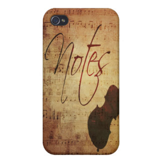 Musicians Notes Antique Musical Score with Strings Case For iPhone 4
