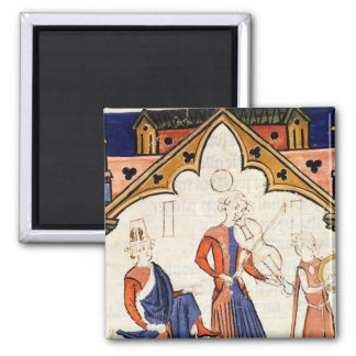 Musicians Playing a Viola and a Tambourine 2 Inch Square Magnet