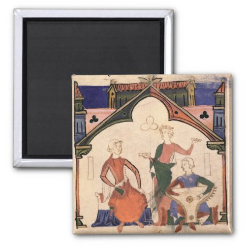 Musicians Playing Castanets and a Psaltery 2-inch Square Magnet