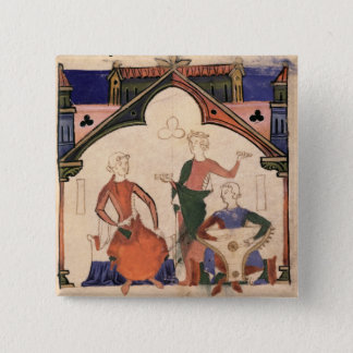 Musicians playing castanets and a psaltery button
