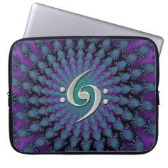 Musicians Spiral Fractal Music Double Bass Clef Laptop Computer Sleeve