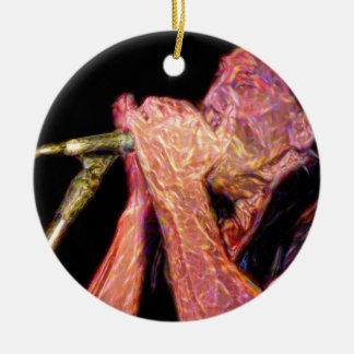 músico artístico de la versión del jugador de la adorno navideño redondo de cerámica