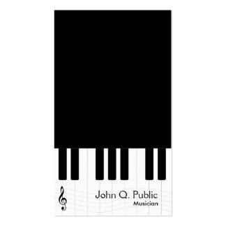Músico blanco y negro del piano tarjetas de visita