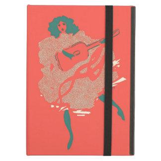 Músico de color salmón de la mujer de la guitarra