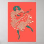 Músico de color salmón de la mujer de la guitarra  póster