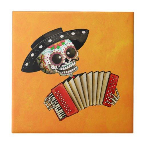 Músico de Dia de Muertos Skeleton Tejas Ceramicas